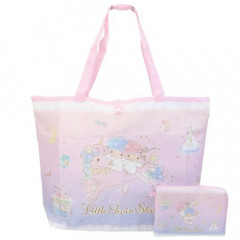 Japan Sanrio Foldable Eco Shopping Bag - Little Twin Stars