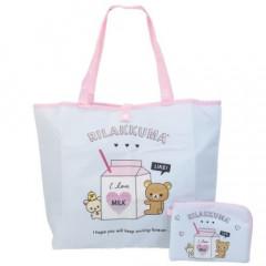 Japan San-X Foldable Eco Shopping Bag - Rilakkuma / Milk