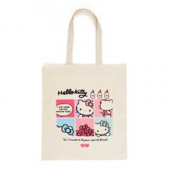 Japan Sanrio Cotton Shopping Bag - Hello Kitty / Grid Comic
