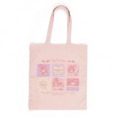 Japan Sanrio Cotton Shopping Bag - My Melody / Grid Comic