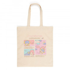 Japan Sanrio Cotton Tote Bag - Little Twin Stars / Grid Comic