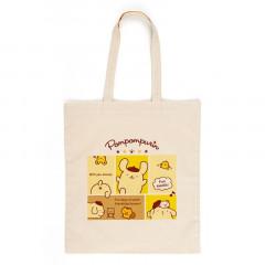 Japan Sanrio Cotton Shopping Bag - Pompompurin / Grid Comic