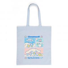 Japan Sanrio Cotton Shopping Bag - Cinnamoroll / Grid Comic