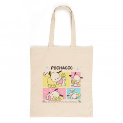 Japan Sanrio Cotton Shopping Bag - Pochacco / Grid Comic