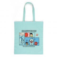Japan Sanrio Cotton Shopping Bag - Hangyodon / Grid Comic