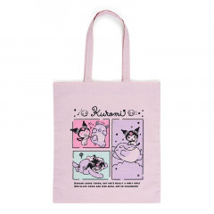Japan Sanrio Cotton Shopping Bag - Kuromi / Grid Comic
