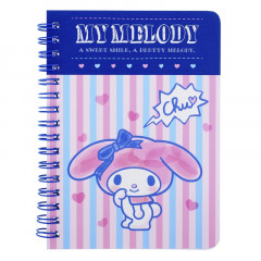 Sanrio A6 Twin Ring Notebook - My Melody / Purple Pink