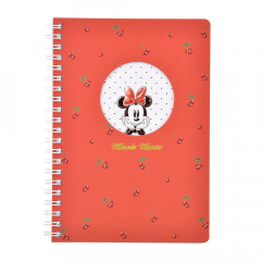 Japan Disney Twin Ring B6 Notebook - Minnie / Cherry