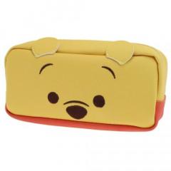 Japan Disney Makeup Pencil Bag Zipper Pouch - Winnie the Pooh Face