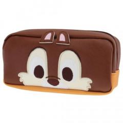 Japan Disney Makeup Pencil Bag Zipper Pouch - Chip Face