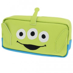 Japan Disney Makeup Pencil Bag Zipper Pouch - Toy Story Little Green Men Face