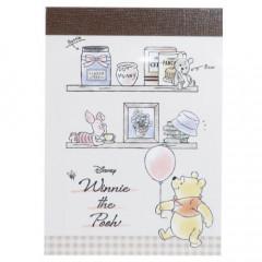 Japan Disney B8 Mini Notepad - Winnie the Pooh & Piglet Balloon