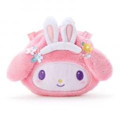 Japan Sanrio Die-cut Fluffy Drawstring Bag - My Melody / Nakayo Hanbunko