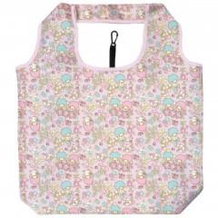 Japan Sanrio Smart Eco Shopping Bag - Little Twin Stars / Flower Pink