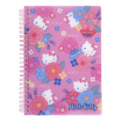 Sanrio A5 Twin Ring Notebook with File - Hello Kitty / Flower