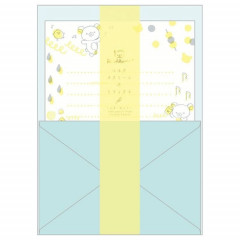 Japan San-X Rilakkuma Fluorescent Silk Printing Letter Envelope Set - Blue