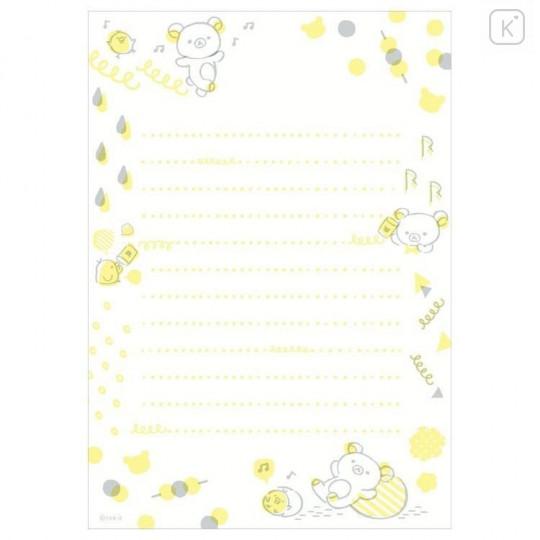 Japan San-X Rilakkuma Fluorescent Silk Printing Letter Envelope Set - Blue - 2