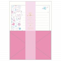 Japan San-X Rilakkuma Fluorescent Silk Printing Letter Envelope Set - Pink