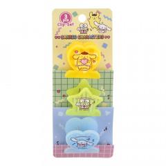 Sanrio Plastic Clip Set - Pompompurin & Keroppi & Cinnamoroll