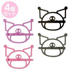 Japan Sanrio Colorful Hair Clip 4pcs Set - Kuromi / Face