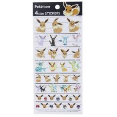 Japan Pokemon 4 Size Sticker - Eevee Friends