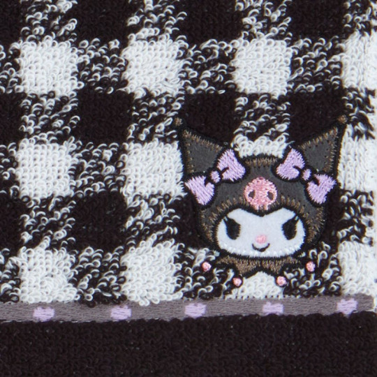 Japan Sanrio Petit Towel - Kuromi / Check - 2