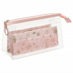 Japan San-X Clear Pen Pouch - Rilakkuma / Dull Pink