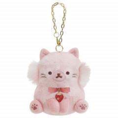 Japan San-X Keychain Plush - Strawberry Cat / Korilakkuma Strawberry Cat