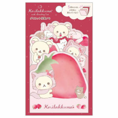 Japan San-X Die-cut Sticky Notes - Korilakkuma Strawberry Cat / Red