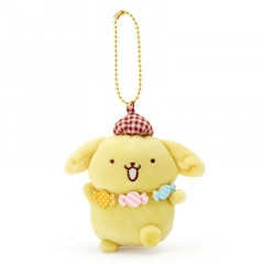 Japan Sanrio 2 Way Mascot Keychain Brooch - Pompompurin Amechan / My Treasure