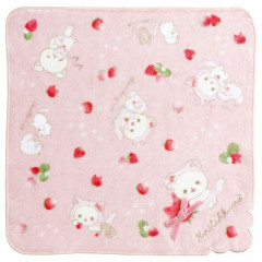 Japan San-X Rilakkuma Mini Towel - Korilakkuma with Strawberry Cat / Pink Ribbon