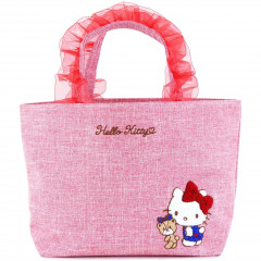 Japan Sanrio Ruffle Bag with Embroidery - Hello Kitty / Red