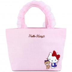 Japan Sanrio Ruffle Bag with Embroidery - Hello Kitty / Pink