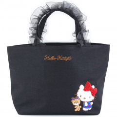 Japan Sanrio Ruffle Bag with Embroidery - Hello Kitty / Black