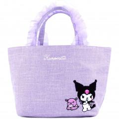 Japan Sanrio Ruffle Bag with Embroidery - Kuromi