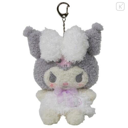 Japan Sanrio Keychain Fluffy Plush - Kuromi - 1