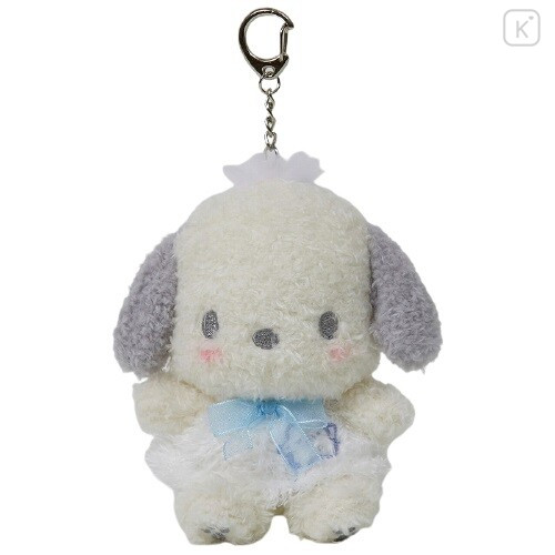 Japan Sanrio Keychain Fluffy Plush - Pochacco - 1