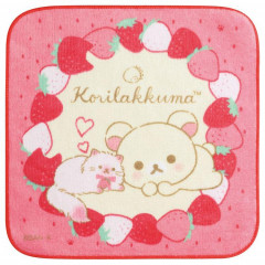 Japan San-X Petit Towel - Rilakkuma / Korilakkuma with Strawberry Cat